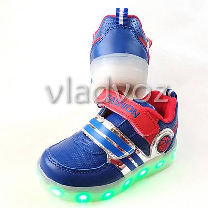 Детские светящиеся кроссовки для мальчика с led подсветкой USB синие 28р., фото 2