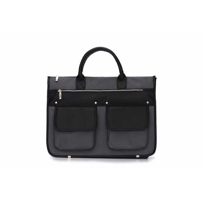 Современный мужской портфель серо-черный S24