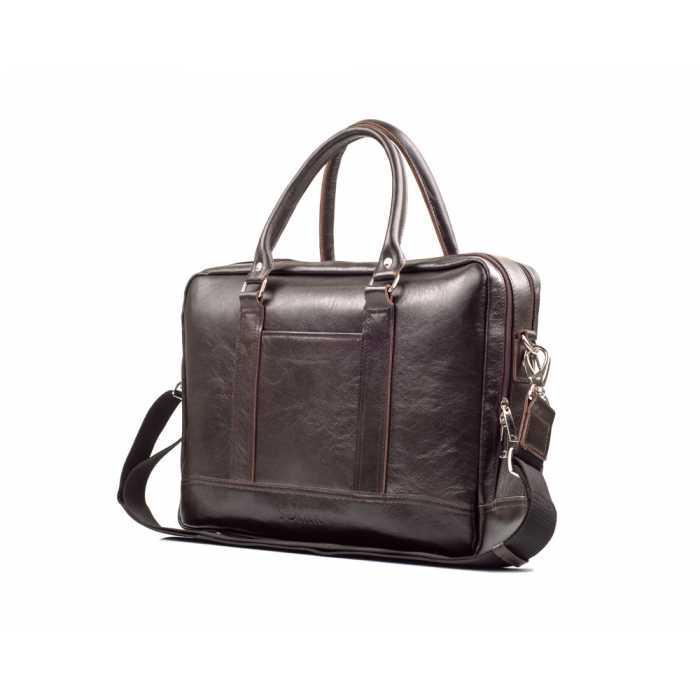 Кожаная сумка на плечо для ноутбука коричневая SL02