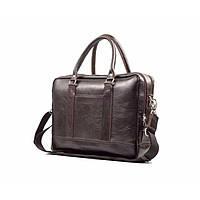 Кожаная сумка на плечо для ноутбука коричневая SL02, фото 1