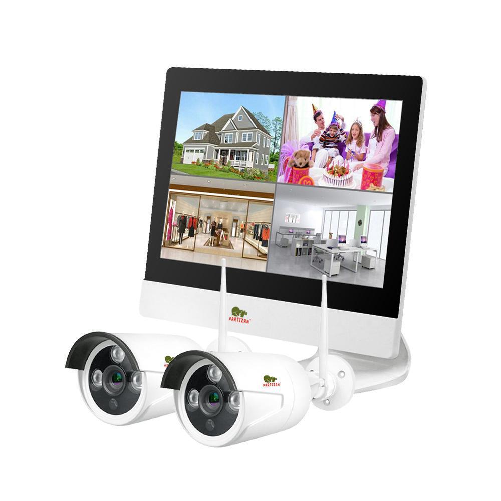 2Мп Набор видеонаблюдения для улицы LCD Wi-Fi Partizan IP-24 2xCAM + 1xNVR. Гарантия 3 года!