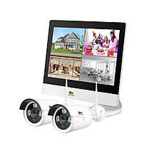Набор видеонаблюдения для улицы LCD Wi-Fi Partizan IP-24 2xCAM + 1xNVR 2Мп . Гарантия 3 года!
