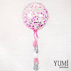 Нежный гелиевый шар-гигант с конфетти и гирляндой для девушки
