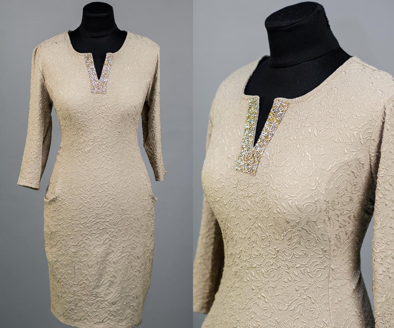 """Стильное женское платье с усыпанными камнями на вороте ткань """"жаккард"""" 52, 54 размер батал"""