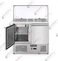 Стол холодильный (саладетта), 2-дверный, со стеклянной витриной, 300 л, 250W, 900x700x(H)1300 мм