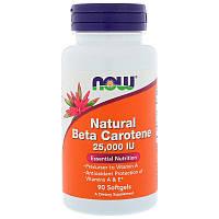 Now Foods, Натуральный бета-каротин, 25 000 МЕ, 90 мягких таблеток, фото 1