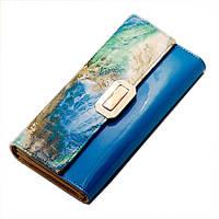 Кошелек женский кожаный лаковый Kivi  (синий), фото 1