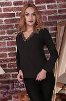 Блуза женская с кружевом черная 067, фото 1