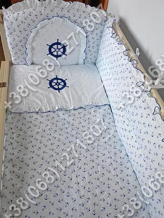 Детское постельное белье в кроватку с вышивкой Штурвал, комплект 6 ед., фото 2