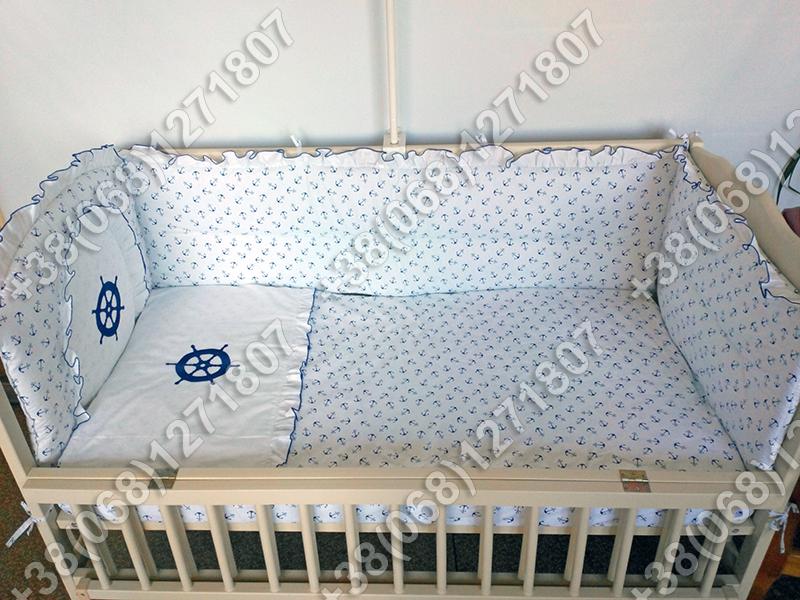 Детское постельное белье в кроватку с вышивкой Штурвал, комплект 6 ед.