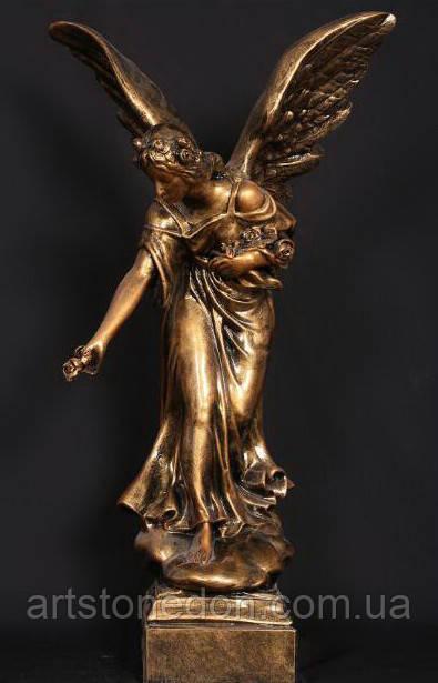 Скульптура ангела на могилу. Статуя Ангел  с розами №3 из полимера 76 см