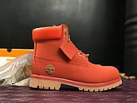 Женские ботинки Timberland red new без меха. Живое фото. Топ качество! (Реплика ААА+)