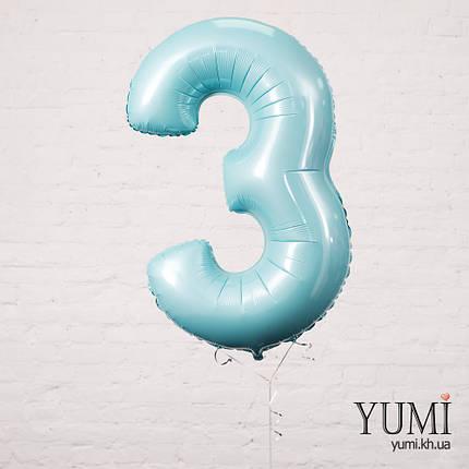 Фольгированная цифра 3 пастель аквамарин, фото 2