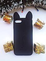 Силиконовый чехол Ушки Кошки CoCo Cat для iPhone 7/8, Черный