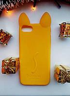 Силиконовый чехол Ушки Кошки CoCo Cat для iPhone 7/8, Желтый