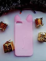 Силиконовый чехол Ушки Кошки CoCo Cat для iPhone 7/8, Нежно-розовый