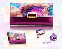 Кошелек женский кожаный лаковый Kivi  (фиолетовый), фото 1