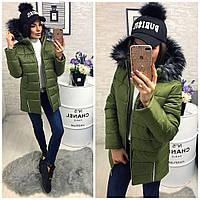 Куртка пальто зимняя на синтепоне с меховым капюшоном