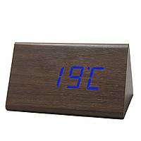 Электронные настольные часы под дерево 868-5 (подсветка:синяя)