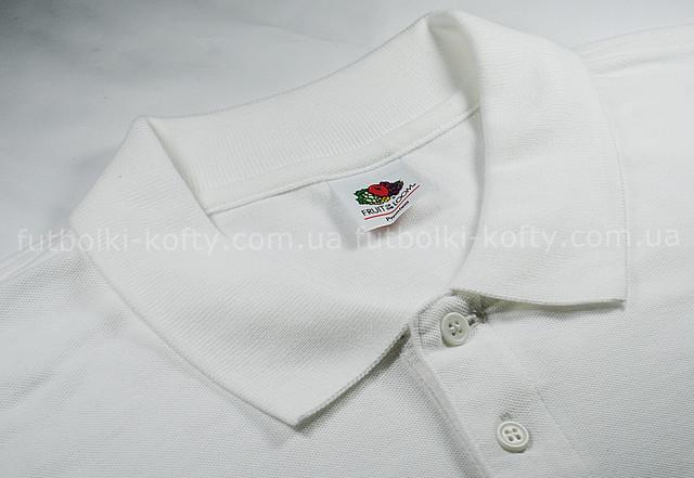 Белое мужское поло з длинным рукавом 100% хлопок