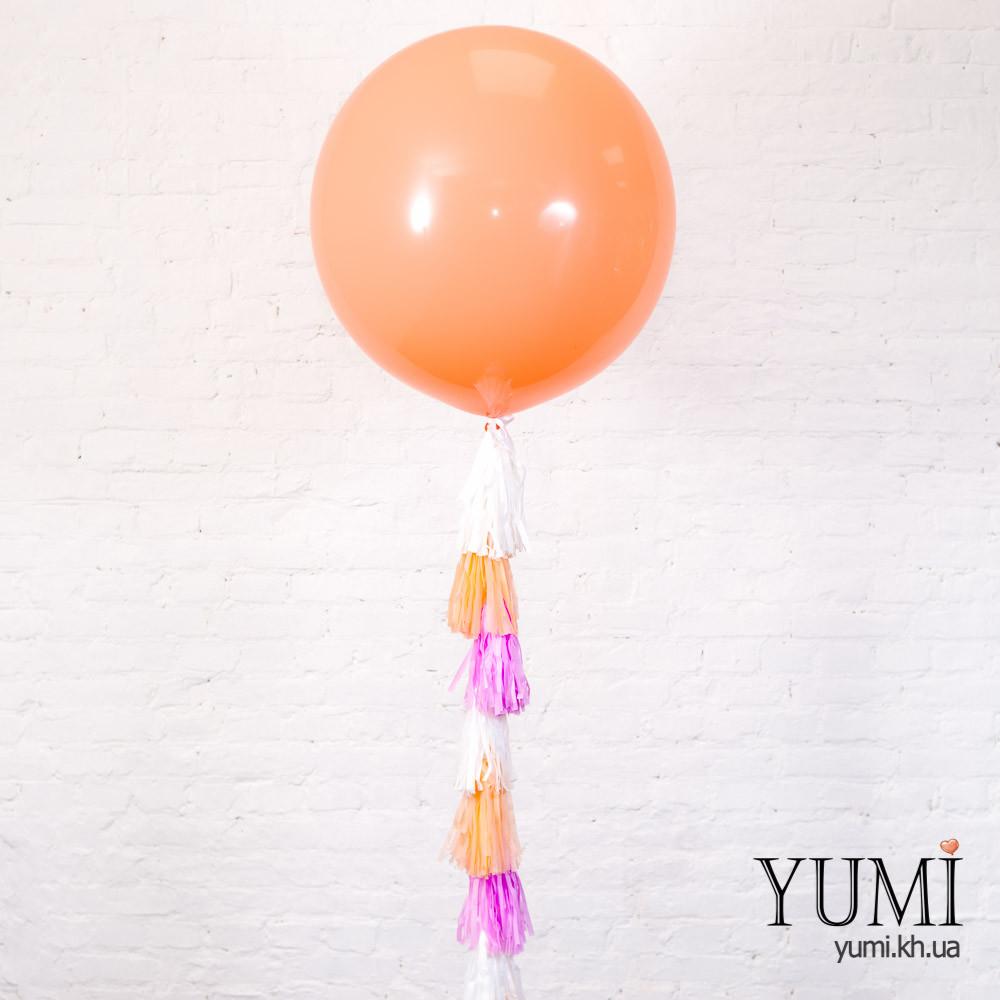 Большой гелиевый шар персикового цвета с декором
