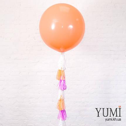 Большой гелиевый шар персикового цвета с декором , фото 2