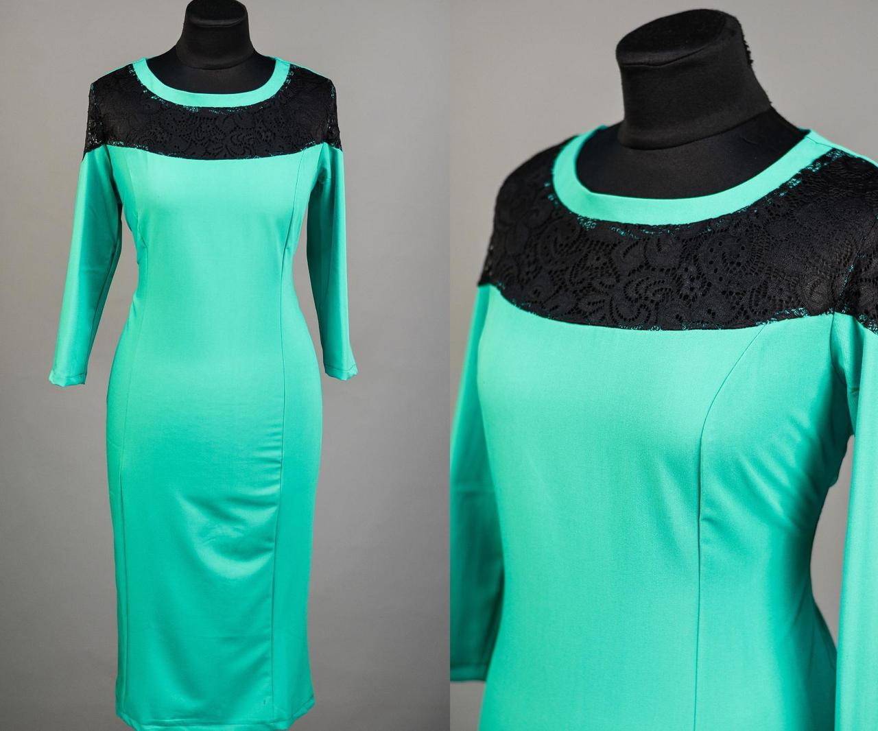 """Красивое женское платье с гипюром ткань """"Хлопок+стрейч"""" 54 размер батал"""