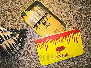 Набір базових кистей пензликів для макіяжу візажу стиліста Кайлі Kylie 12 шт в бляшаному футлярі (осіб)