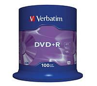 Диск 1 шт. DVD+R 4.7GB + конверт Verbatim box 100 (043512)