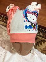 "Трикотажные шапки на завязках ""Kitty """
