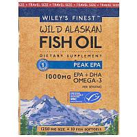 Wiley's Finest, Wiley's Finest, рыбий жир из промысловой рыбы Аляски, пиковое содержание ЭПК, 1250 мг, 10 мягких капсул-рыбок