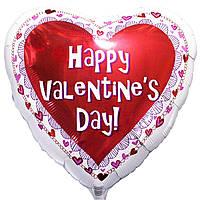Гелиевый шар Сердце  Happy Valentines Day