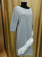 Туника-платье с оборкой, цвет серый, фото 1
