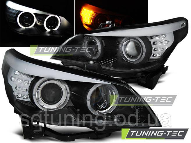 Фары BMW E60/E61 03-07 BLACK LED INDIC.