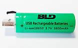 Аккумулятор литиевый 18650 с USB, BLD, 3.7В, 3800mAh, Li-ion, фото 4