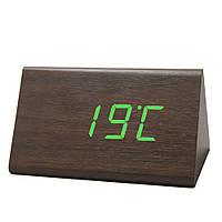 Электронные настольные часы под дерево 868-4 (подсветка:зеленая )
