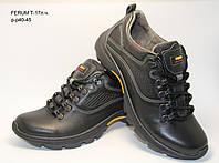 Мужские кожаные кроссовки Ferum черного цвета