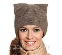 Женская шапка Кошка двойная вязка