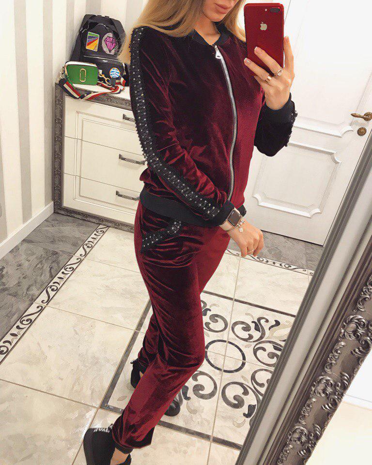 Шикарный велюровый костюм Катрин ( бордо)