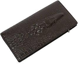 Стильный кожаный кошелек-клатч под рептилию Lacoste коричневый 12357