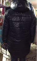 Куртка зимняя женская Еврозима Батал Black 48-58 мех