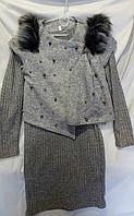 Комплект для девочки платье с жилеткой и с шапочкой р.140-158