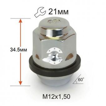 Гайка колесная M12*1,5*34,5 мм Hyundai Конус Хром Ключ 21