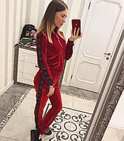 Шикарный велюровый костюм Эмилия красный, фото 1