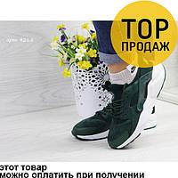Женские кроссовки Nike Huarache, темно-зеленые / кроссовки женские Найк Хуарачи, кожа + замша, стильные