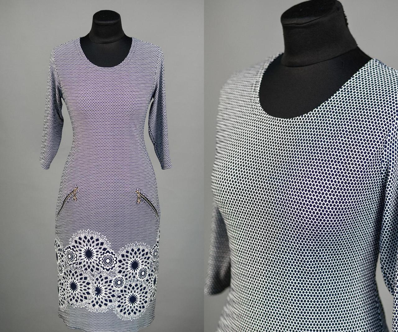 """Красивое женское платье с цветочным принтом, ткань """"Стеганный трикотаж"""" 48 размер батал"""
