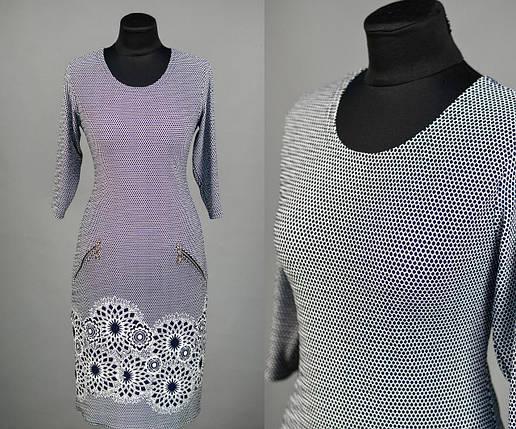 """Красивое женское платье с цветочным принтом, ткань """"Стеганный трикотаж"""" 48 размер батал, фото 2"""