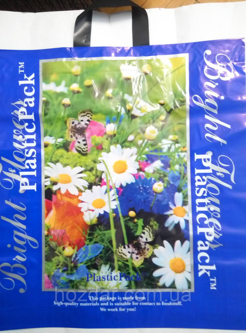 """Пакет щільний з петлевою ручкою """"Квіти"""" 47х49 див. 25шт."""