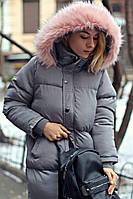 Женский длинный зимний пуховик  с капюшоном