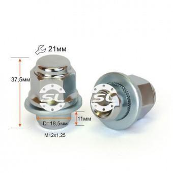 Гайка M12*1,25*37,5 мм Прессшайба D-18.5 Хром Ключ 21
